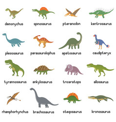 Collection of cute flat dinosaurs vector