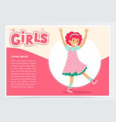 cute happy girl having fun girls banner flat vector image vector image