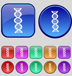 DNA icon sign A set of twelve vintage buttons for vector image vector image