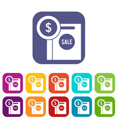 dollar sign and shopping bag for sale icons set vector image