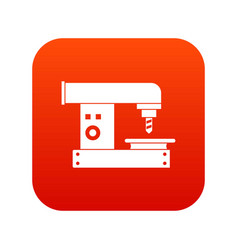 Drilling machine icon digital red vector