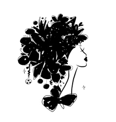 Female portrait black silhouette for your design vector image