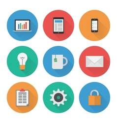 Flat icons set business vector