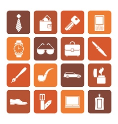 Flat man accessories icons and objects vector image vector image