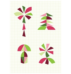 Flower palm mushroom fir tangram figures vector