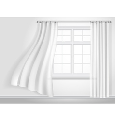 fluttering curtains and window vector image vector image