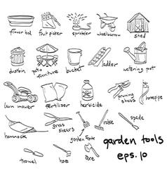 garden tools doodles vector image