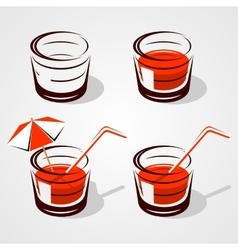 Glass with juice vector
