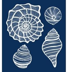Hand-drawn shell set vector