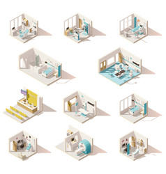Isometric low poly hospital rooms vector