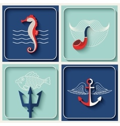 marine theme icons vector image vector image