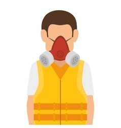 Repairman character working with safety mask vector