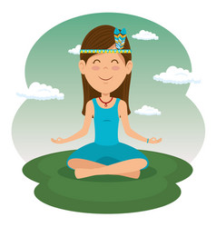 Sitting hippie woman meditating vector