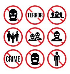 Stop terrorism no crime no terrorist group sign vector