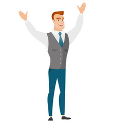 Successful caucasian businessman jumping vector
