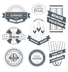 Summer equipment set label template of emblem vector