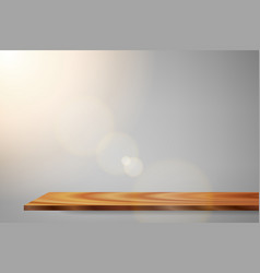 sunrise lens flare wood shelf vector image
