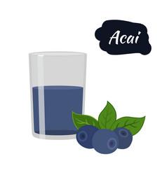 Super food acai berry juice amazon nutrition vector