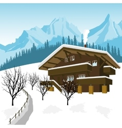traditional alpine chalet in the mountains of Alps vector image vector image