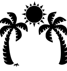 Two palm trees and sun silhouette vector