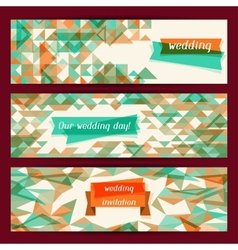 Wedding invitation horizontal banners in retro vector image