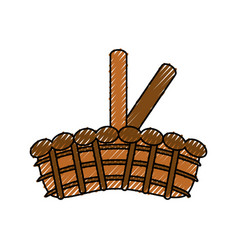 wicker basket crate vector image