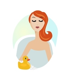 Woman taking a relaxing bath with rubber duck vector