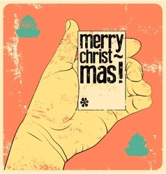 Typographic vintage style christmas card design vector