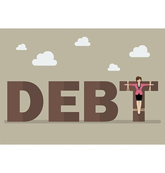 Business woman crucified on debt vector