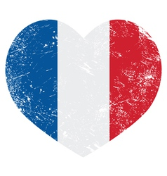 France heart retro flag vector image