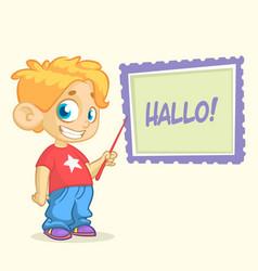 Cartoon young blond boy character vector