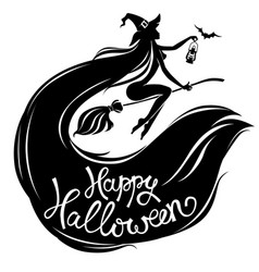Silhouette beautiful witch on broomstick with text vector
