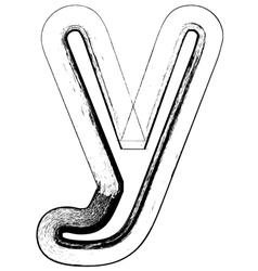 Grunge Font letter y vector image