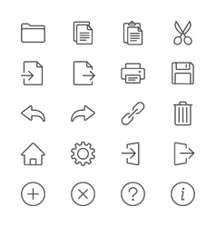 Application toolbar thin icons vector