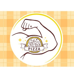 Strong man hand with icon of pizza on ye vector