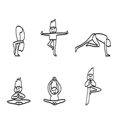 Cartoon character man practicing yoga for design vector