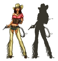 Pretty cowgirl with guns isolated on white vector