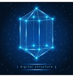 Abstract glowing geometric figure on starry vector