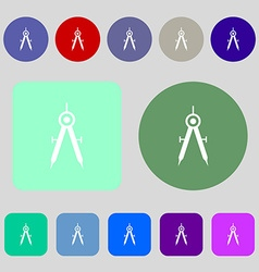 Mathematical compass sign icon 12 colored buttons vector