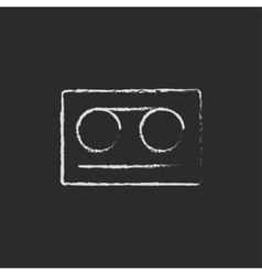 Cassette tape icon drawn in chalk vector