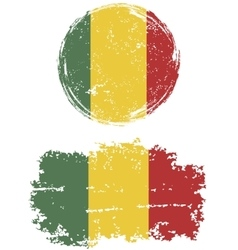 Malian round and square grunge flags vector