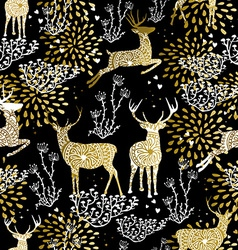 Christmas golden seamless pattern deer reindeer vector
