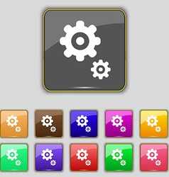 Gears icon sign set with eleven colored buttons vector