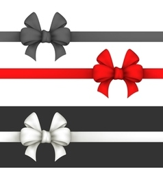 Black red and white gift bows vector
