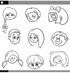 Children heads characters set vector