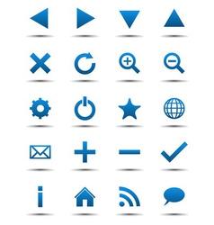 Blue navigation web icons vector