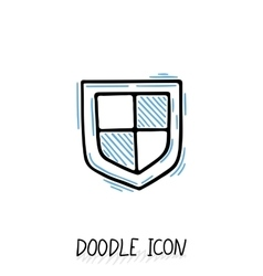 Doodle protection icon shield antivirus vector