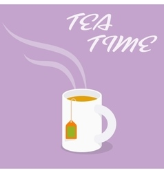 Tea time - cup of black tea vector