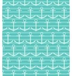 Seamless pattern with anchor on blue striped vector
