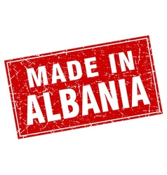 Albania red square grunge made in stamp vector